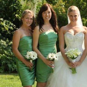 David's Bridal bridesmaid green dress (size 2)